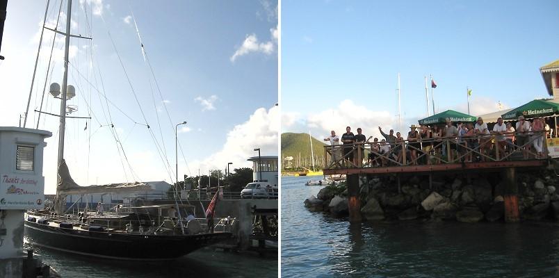 Bückenöffnung beim St. Maarten Yachtclub